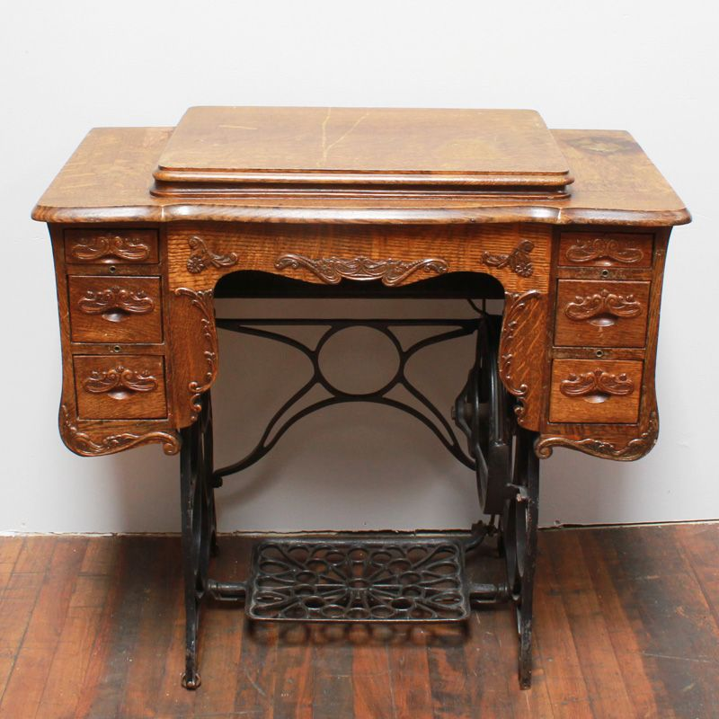 Zim Sewing Table Antique Oak Sewing Table With Steel Base And Six