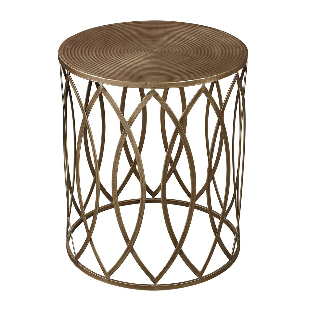 antique gold finish round metal accent table | overstock™ shopping