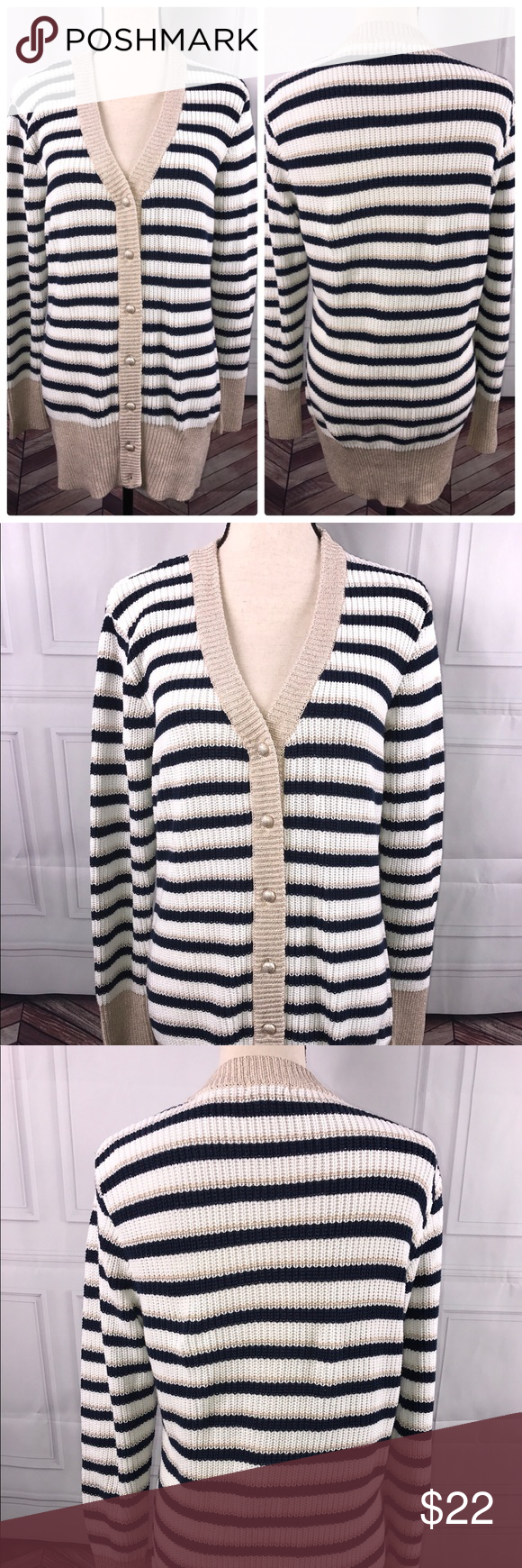 Boston Proper Medium Striped Cardigan Sweater Boston Proper Medium ...