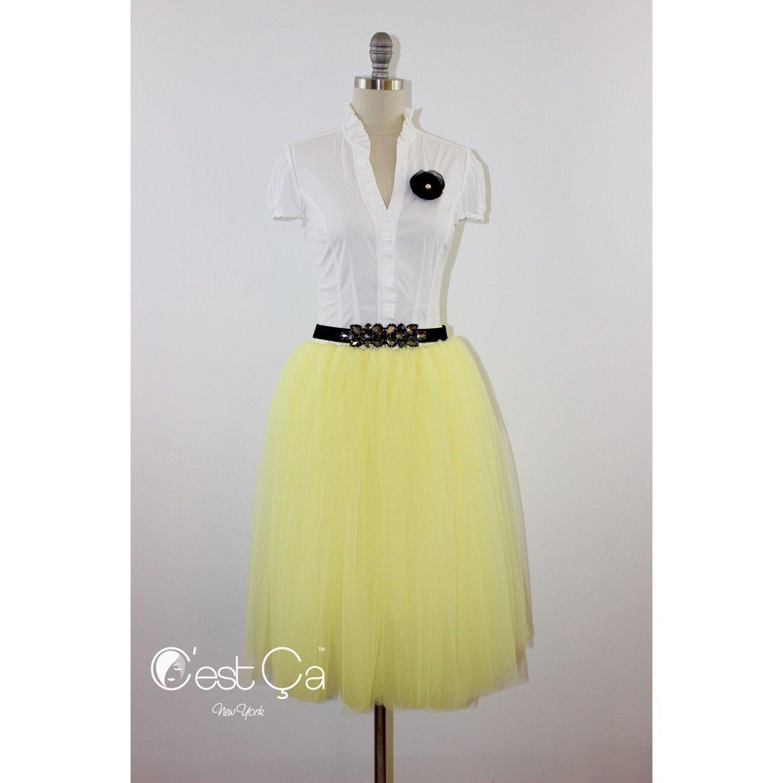 New to CestCaNY on Etsy: Colette - Lemon Yellow Tulle Skirt Soft Tulle Skirt Tea Length Tulle Skirt Adult Tutu Plus Size Tulle Skirt (79.00 USD)