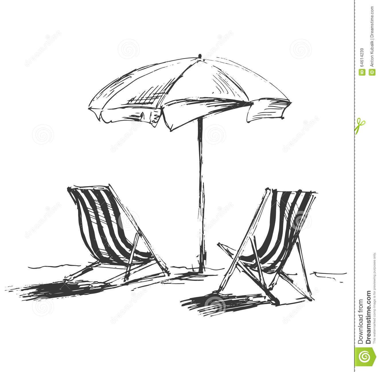 Hand Sketch With Beach Chairs And Parasols Stock Vector