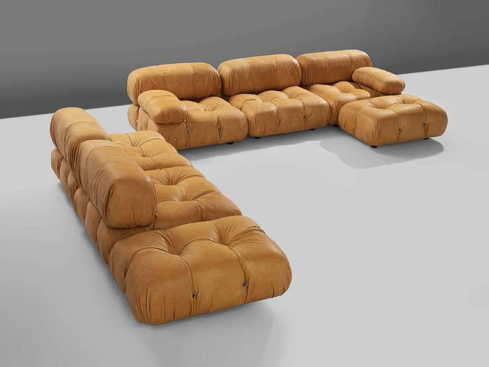Customizable Mario Bellini Camaleonda Modular Sofa In Cognac Leather Sofa Reupholstered Best Leather Sofa Reupholster