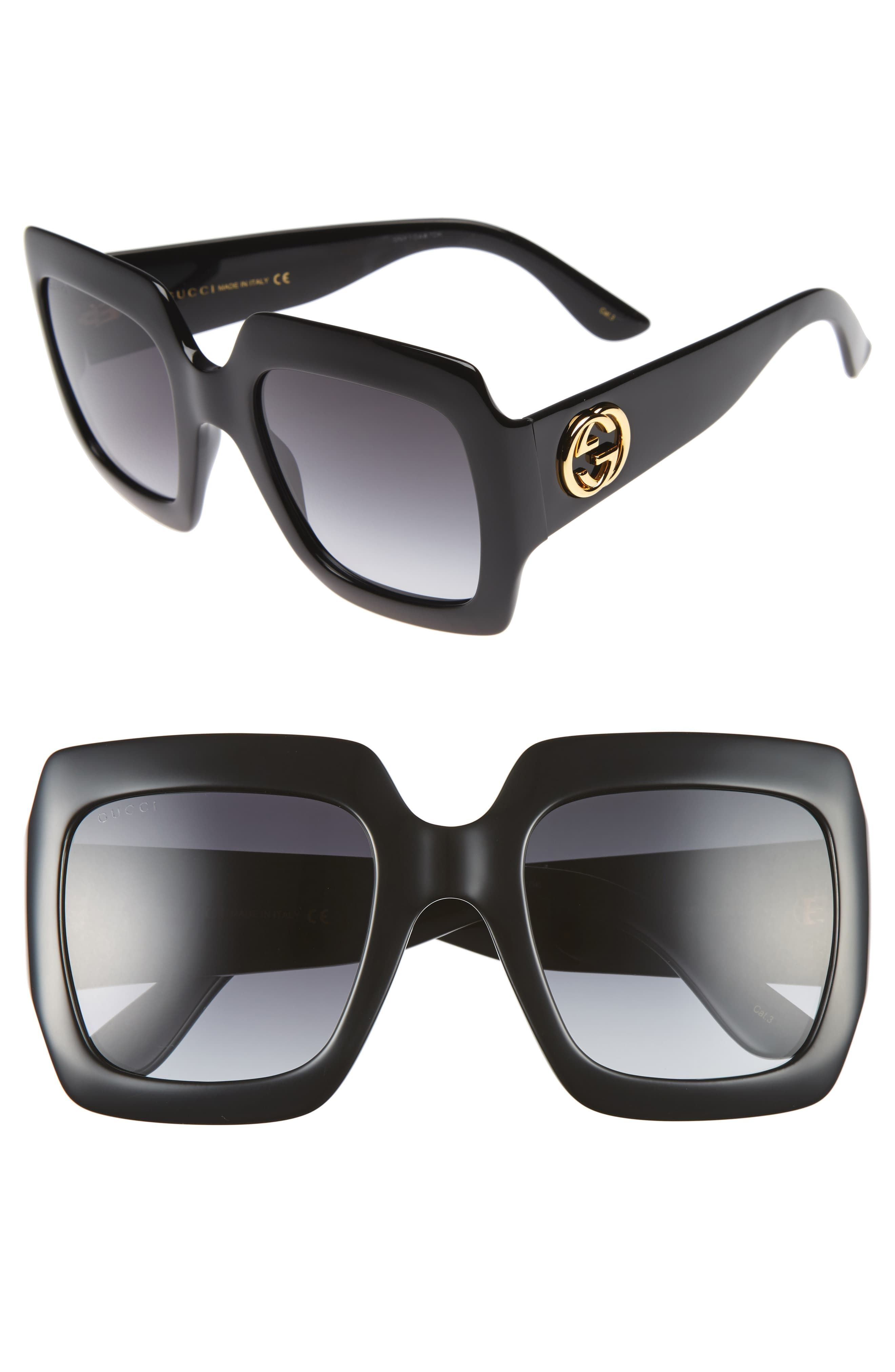 35ec1c7b9 Women's Gucci 54Mm Square Sunglasses - Black/ Grey in 2019 ...