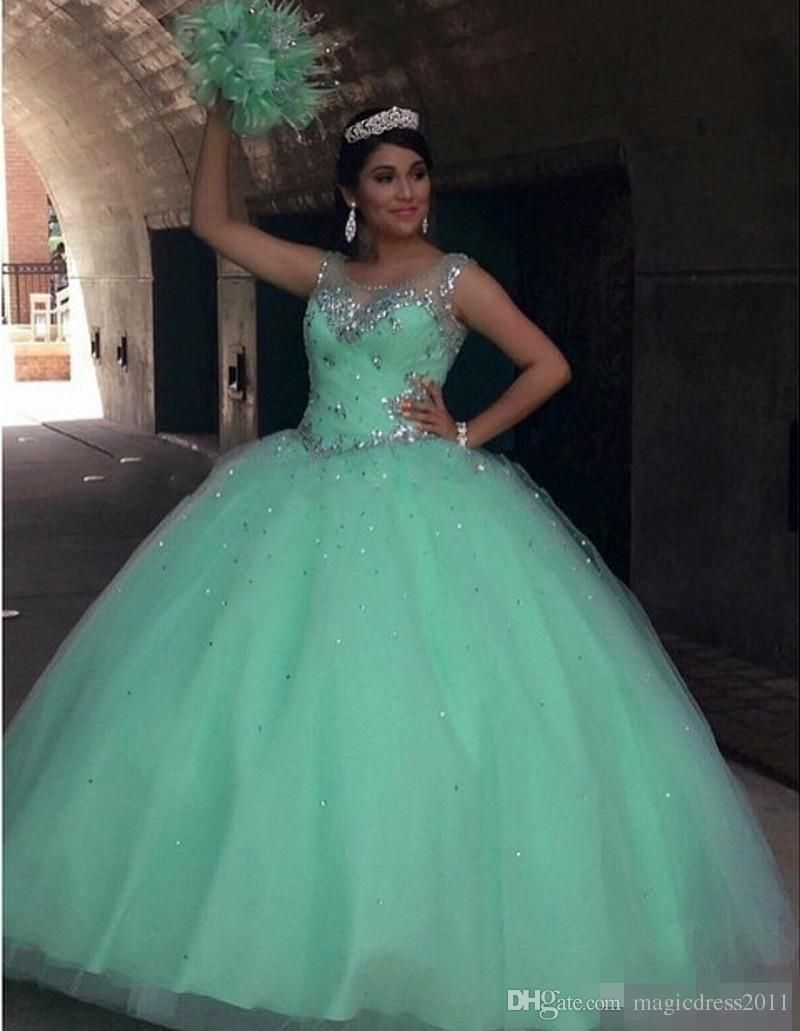 Mint Quinceanera Dresses Ball Gown 2015 Puffy Tulle Sheer Neck ...
