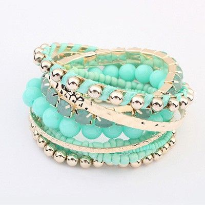 National Wind Multilayer Beads Design Alloy Fashion Bangles