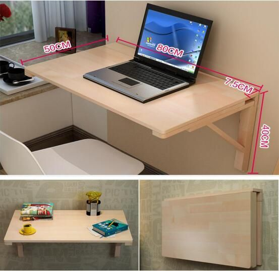 80 50cm Wall Mount Laptop Table Wood Folding Notebook Table Children Learning Table Mutil Purpose Computer Folding Office Desk Wall Desk Space Saving Furniture