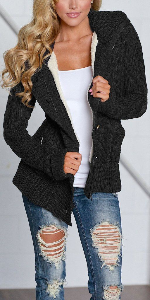 Black Long Sleeve Button-up Hooded Knit Cardigans  fashion  style   streetstyle  cardigan  sweaters  cardigansweater  hoodie  knit  knittop   outfits 721dbfaec