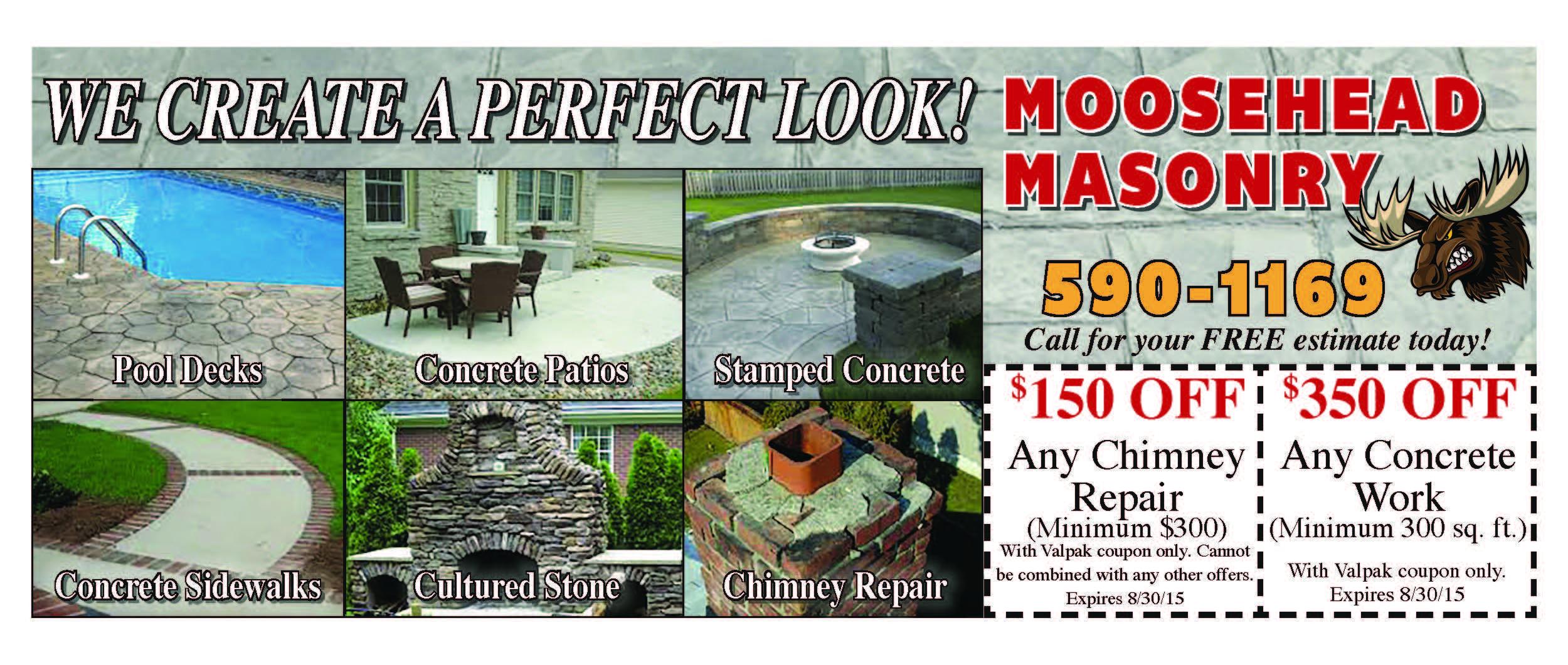 Moosehead masonry specials and coupons rochester ny