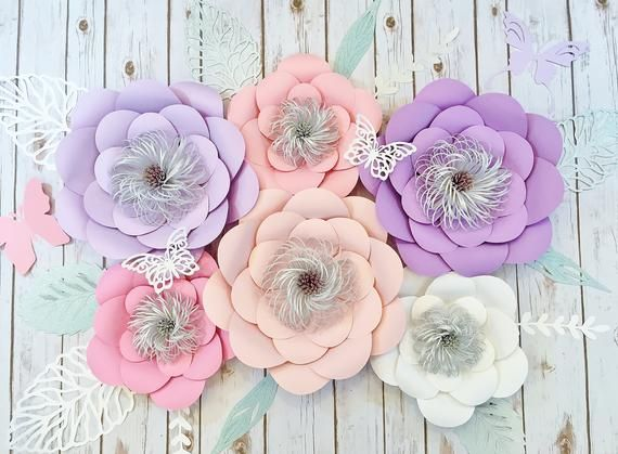 Large Paper Flower Wall Decor Set of 6, Wedding Backdrop, Nursery Wall Art and Baby Shower Decor #bigpaperflowers
