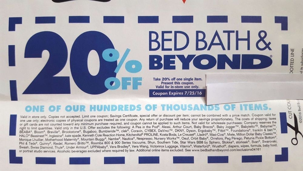 Bed Bath Beyond Coupon 20 Off 20 Percent One Single Item Promo Code