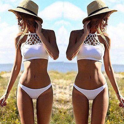 f537c13341 Womens Sexy Swimwear Mesh Crochet Crop Top Bikini Swimsuit Beach Bathing  suit