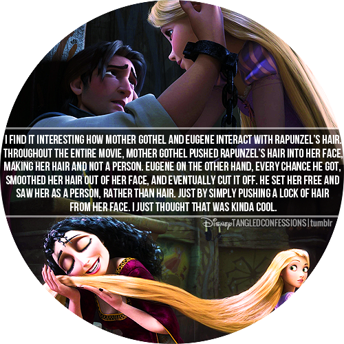 Eugene vs. Mother Gothel when it comes to Rapunzel's hair. I love this movie so much!!! Eugene is one of my favorite recent disney characters.