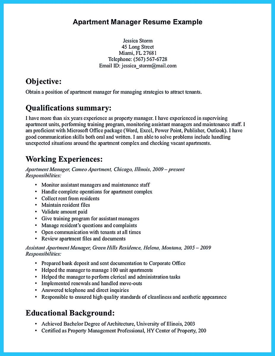 Assistant Manager Resume Format Apartment Manager Resume Samples If You Want To Propose A Job In .