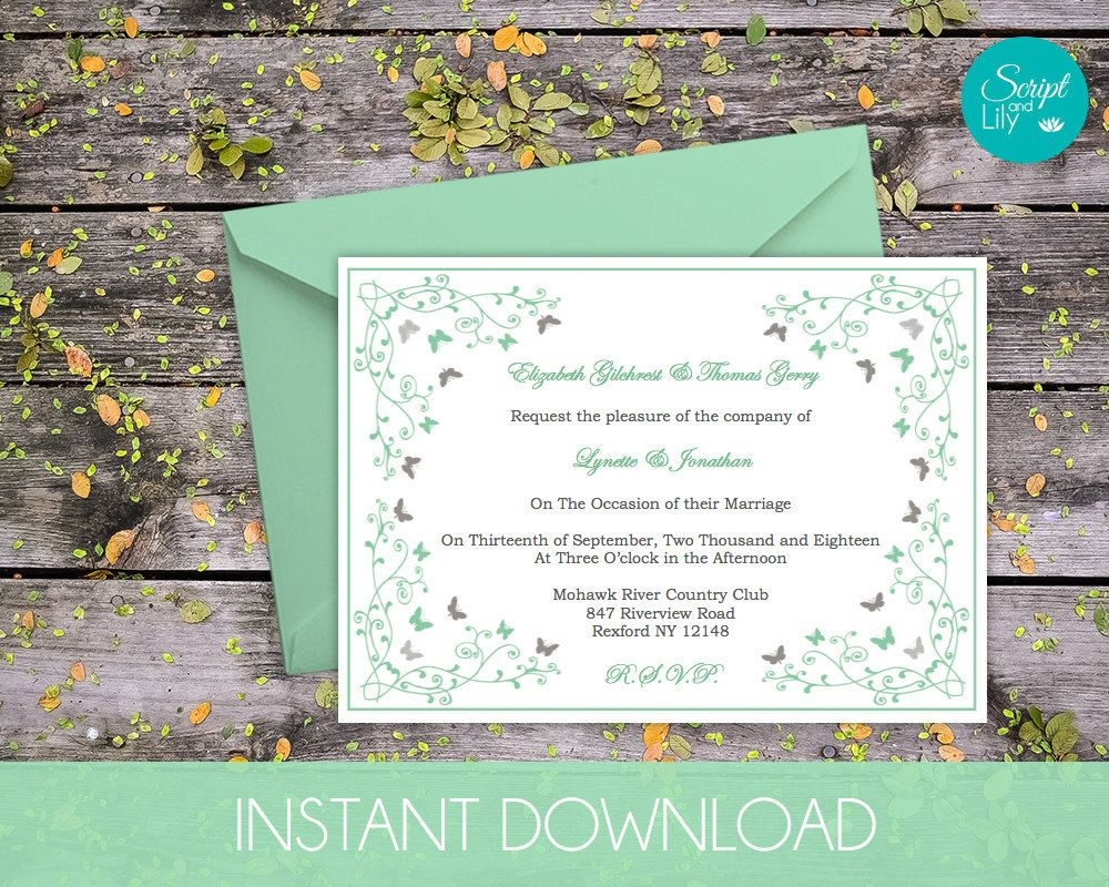 Butterfly Wedding Invitation Template | INSTANT DOWNLOAD ...