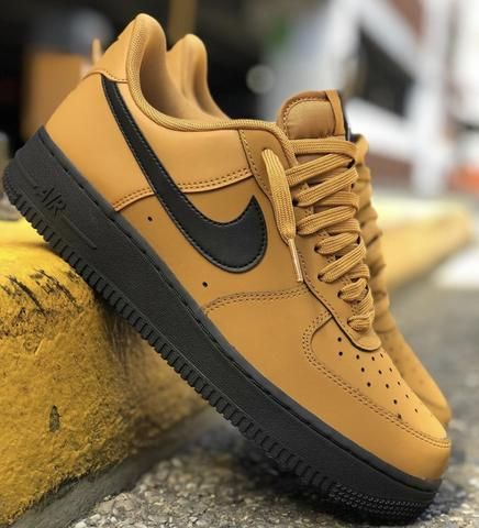 Nike Air Force 1 High Navy Mustard Bottom In 2020 Hype Shoes