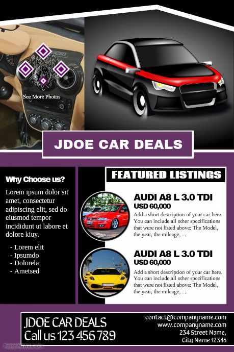 Car dealership flyers - Great for presenting business and car - car flyer template