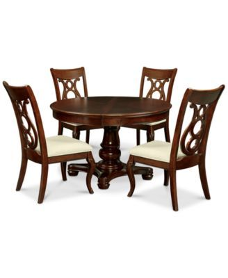 Bordeaux Pedestal Round 5 Pc Dining Room Set Table 4 Side Chairs 1 049 00 Inspired By Classic Louis Phili Round Dining Room Dining Table Dining Room Sets
