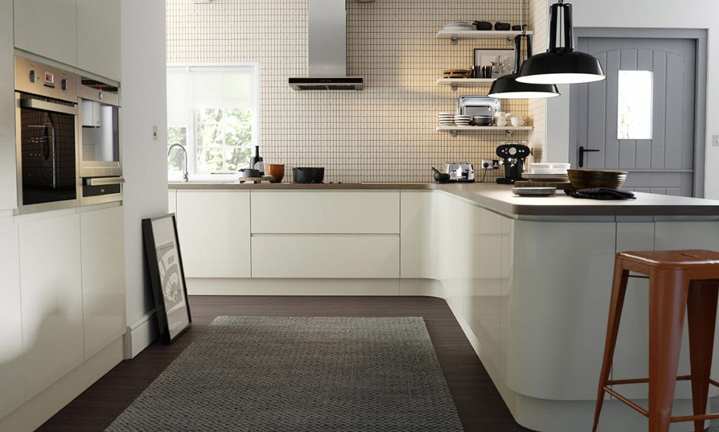 wren kitchens handleless cream gloss smooth curves and uninterrupted lines give this on j kitchen id=72918