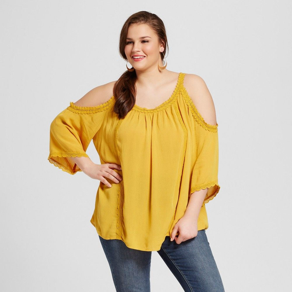 2eef7f20c3289 Women s Plus Size Cold Shoulder Top Yellow 4X - Xhilaration