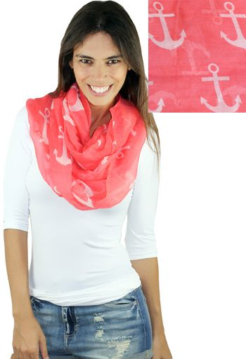 COLORFUL, CORAL, & CUTE!! The #1 accessory for spring and summer 2015 is our Coral Anchor Infinity Scarf! #fashion #pinterestshop #coralscarf