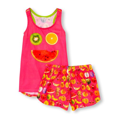 Baby Girls Sleeveless Fruit Face Top And Fruit Print Shorts Pj Set - Pink - The Children's Place