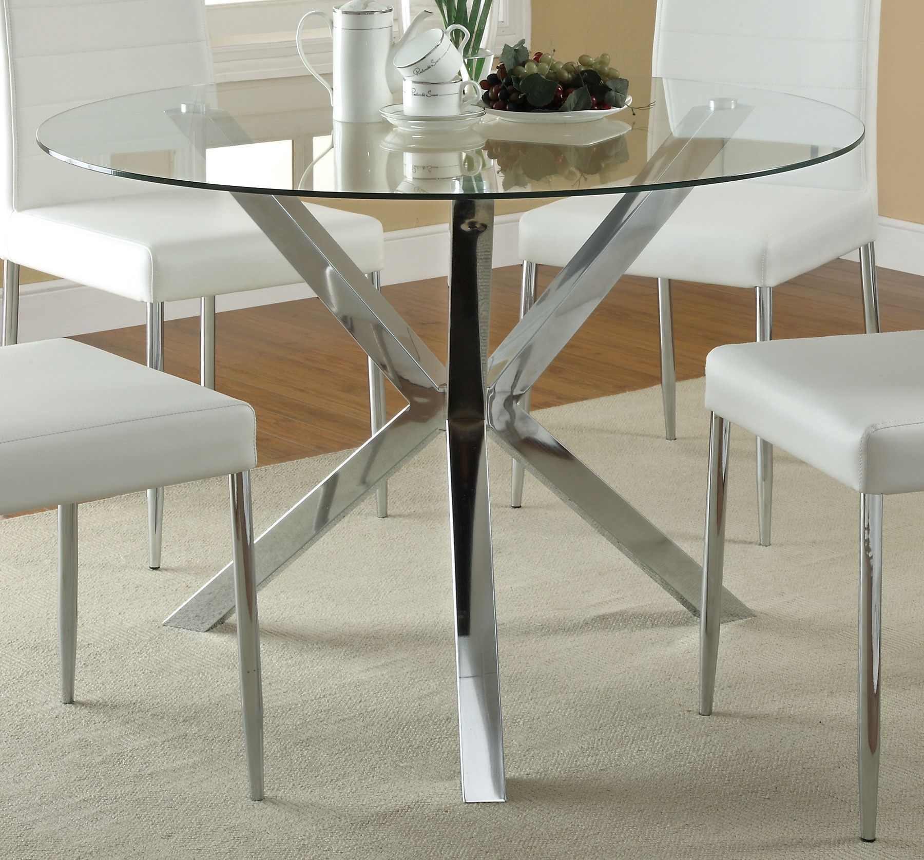 Features Material Metal and glass. Finish Chrome