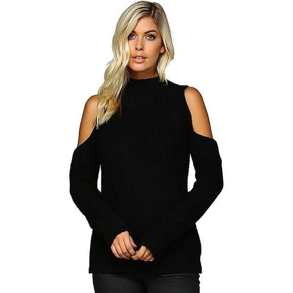 517daf68d0bb45 Cold Shoulder Mock Turtleneck Sweater Black ( 50) ❤ liked on Polyvore  featuring tops