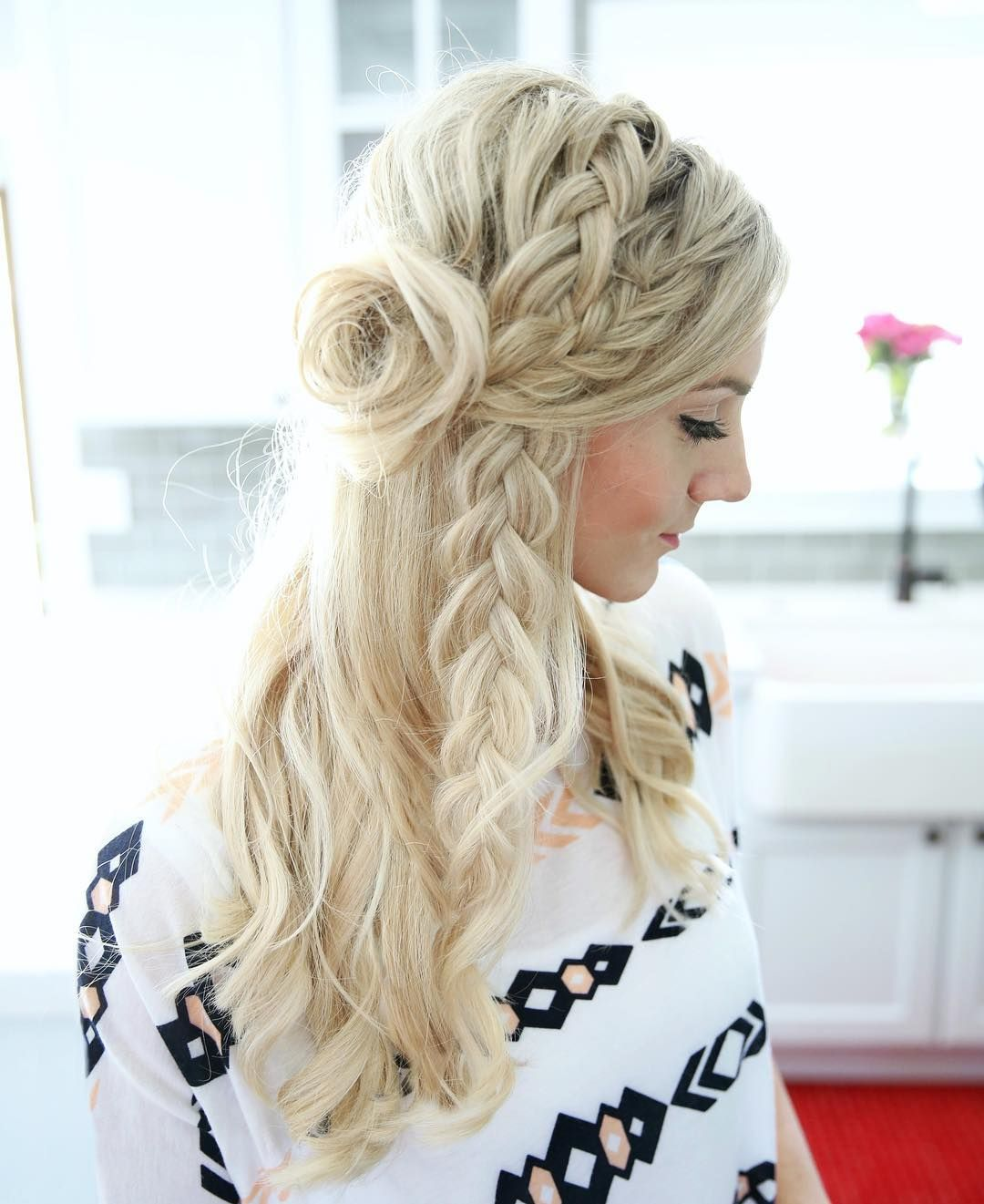 half-up braid | Trenza | Pinterest