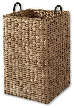 Large Grand Portage Seagrass Bin Tropical Waste Baskets Wicker