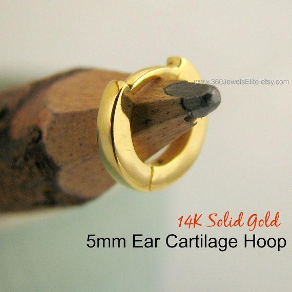 Tiny Ear Cartilage Hoop For Men Guys Single Earring In 14k Gold