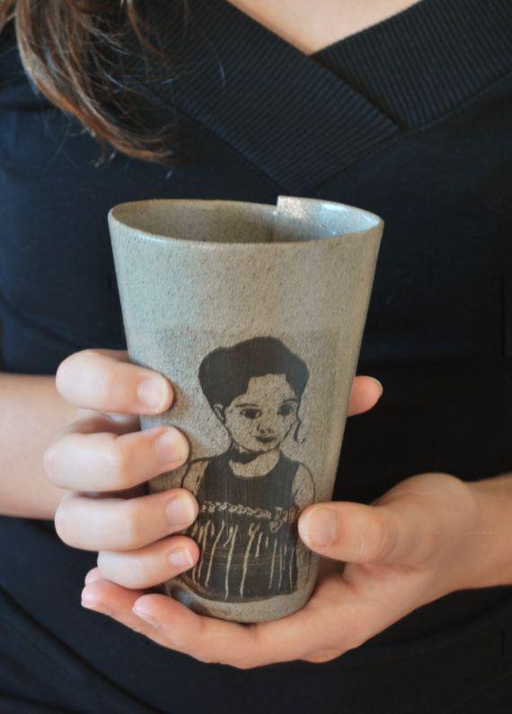 Coffee Tea One Cup Handmade Pottery Housewarming Hand Folded Ceramic Portraits Faces Sgraffito Technique Mug No Handle Wedding Gift
