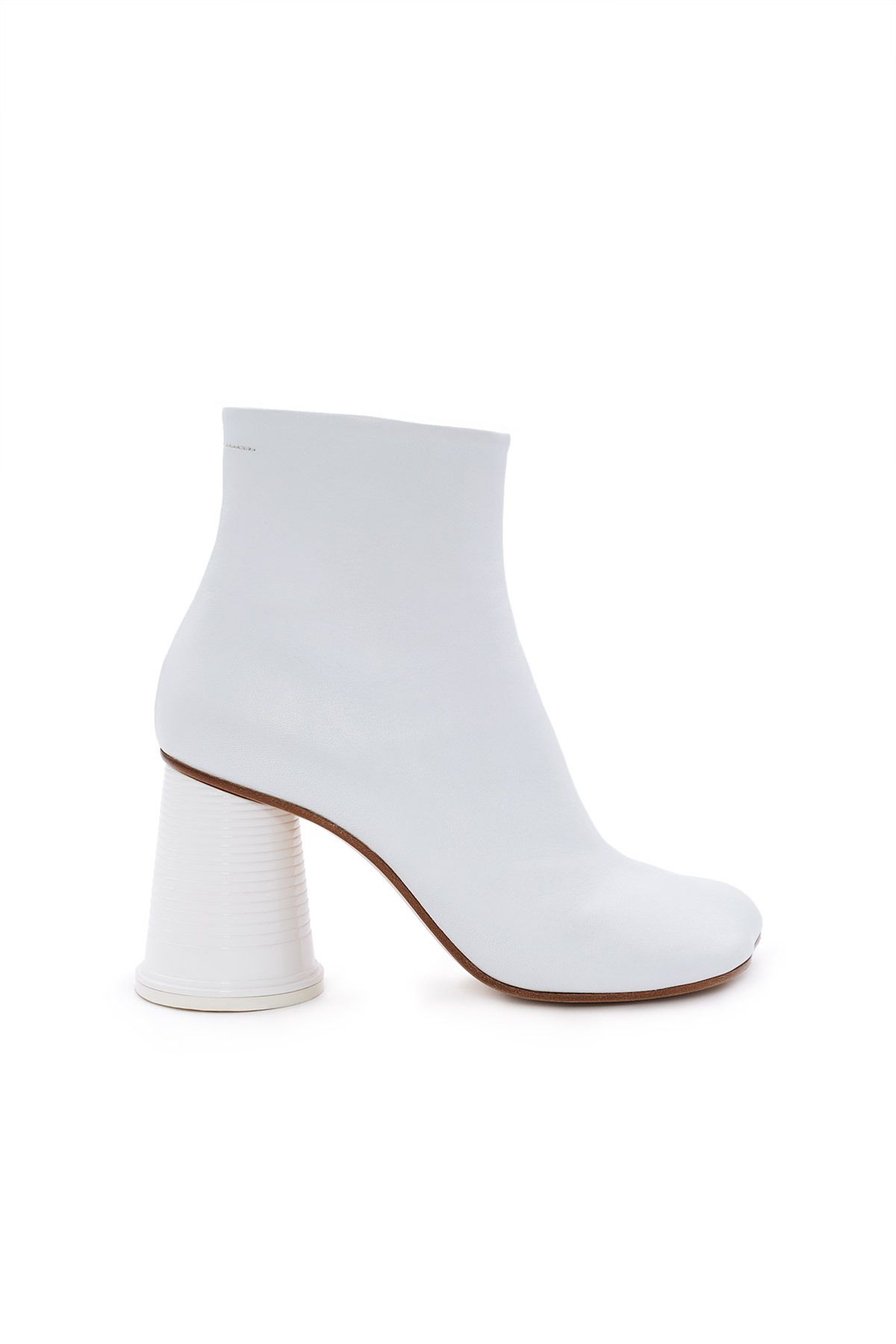 0e57793f68856 MM6 Maison Margiela, Cup Heel Ankle Boot Featuring MM6 Maison Margiela's  signature contoured toe, this all-white leather boot comes with the  season's ...