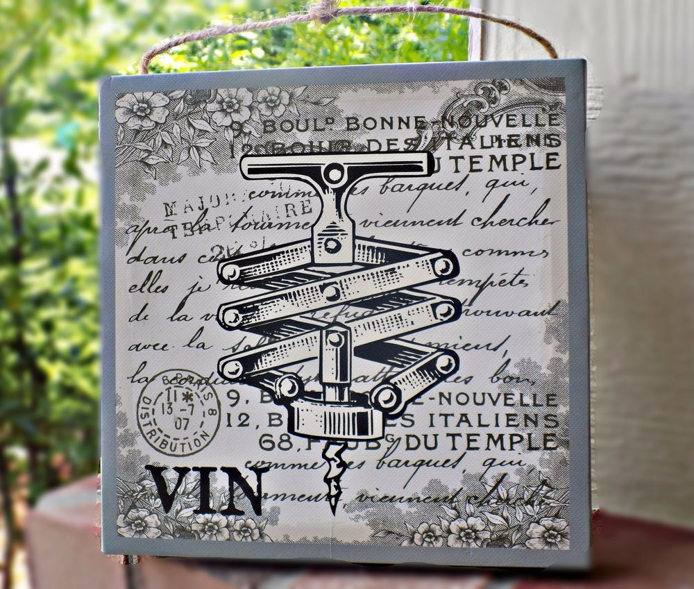 Vintage French Kitchen: Vintage Inspired French Word Vin Home/Kitchen Decor Wine Corkscrew Canvas Plaque #Unbranded