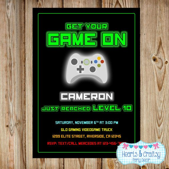 Gaming invitation video game invitation videogame birthday gaming invitation video game invitation videogame birthday gaming party invitation game party by heartsandcraftsy filmwisefo
