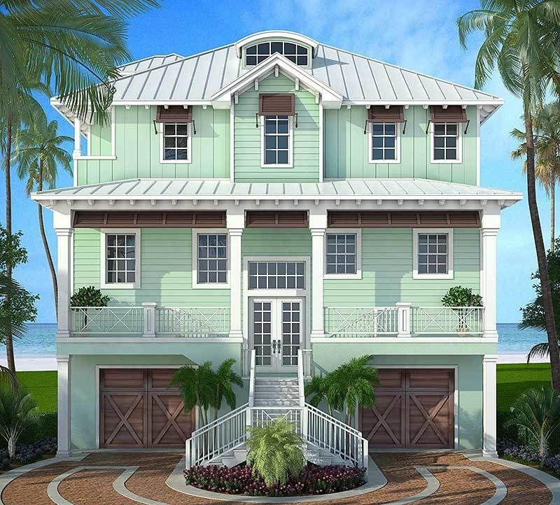 Plan 86008bw Stylish Beach House Plan Beach House Plan Florida House Plans Coastal House Plans