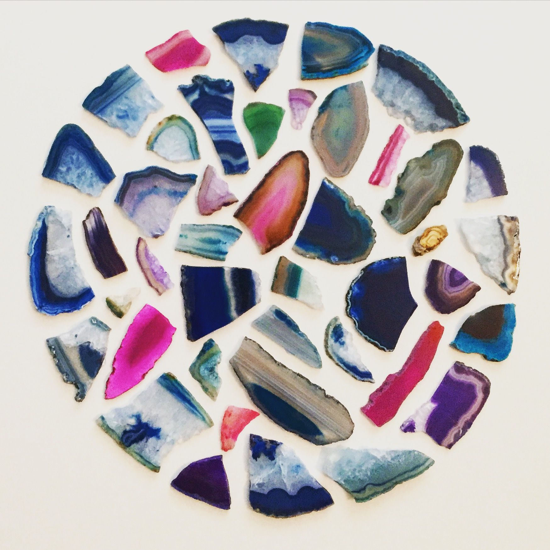 Wall art made from agate slices