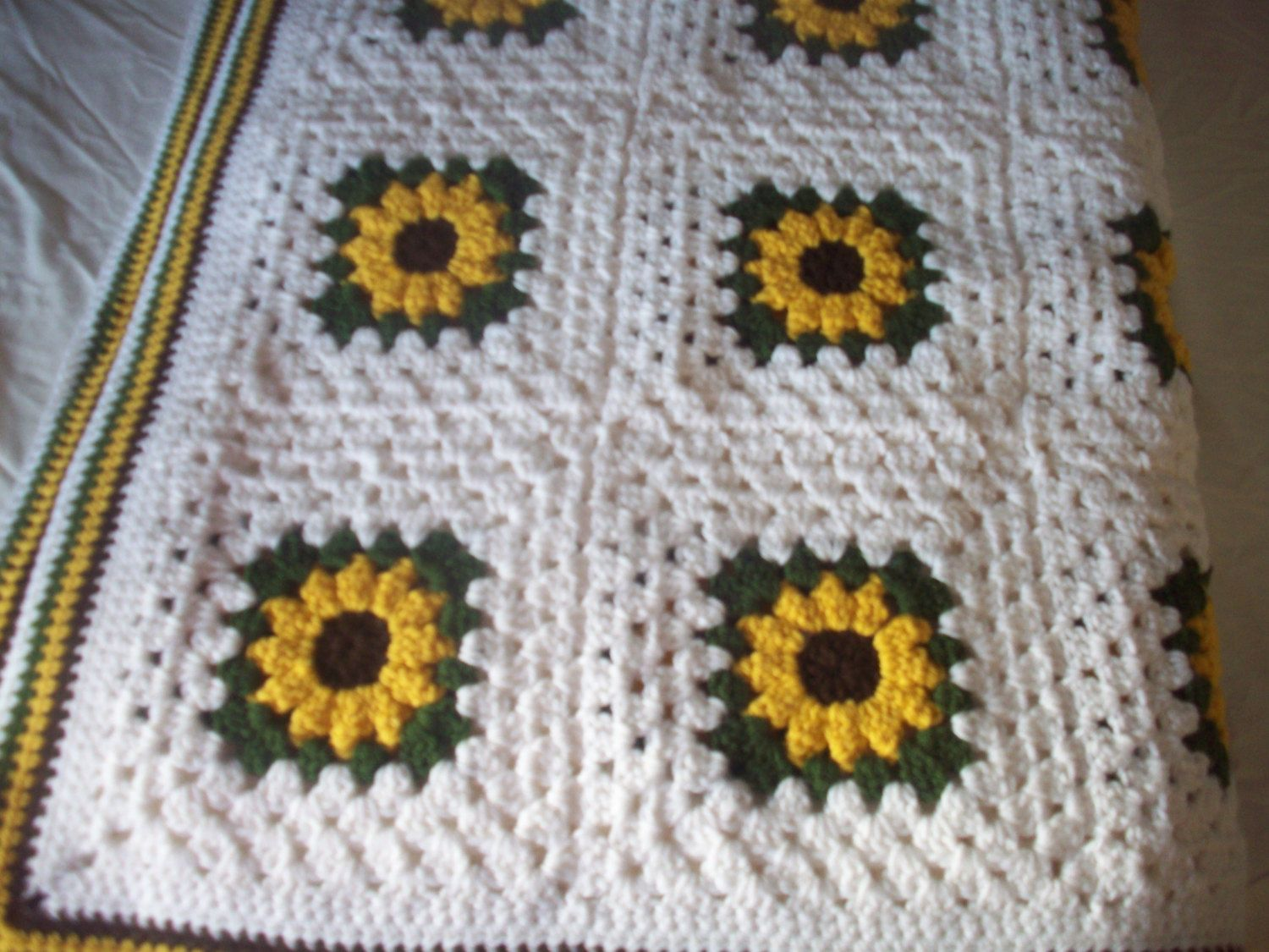 Hand Crocheted Sunflower Granny Square Blanket/Afghan / Throw (86 in ...