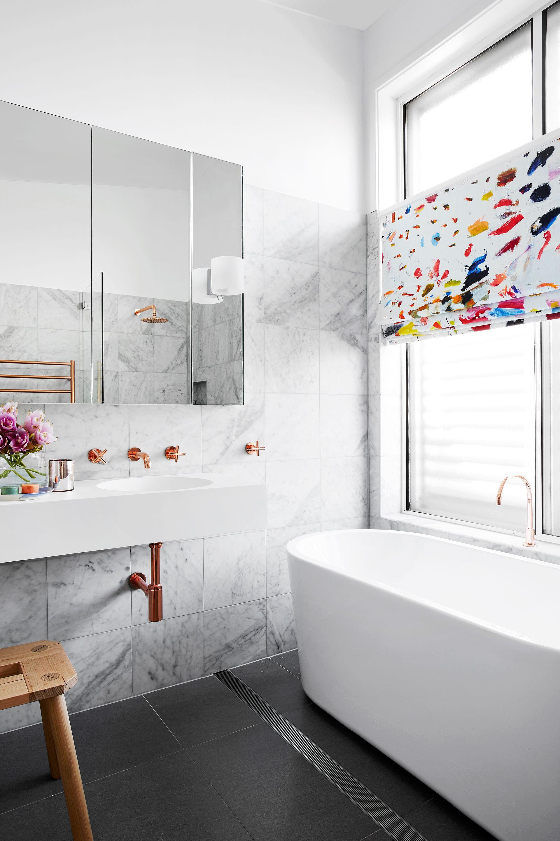 Luxe coper & marble bathroom makeover. Photography: Alexander ...