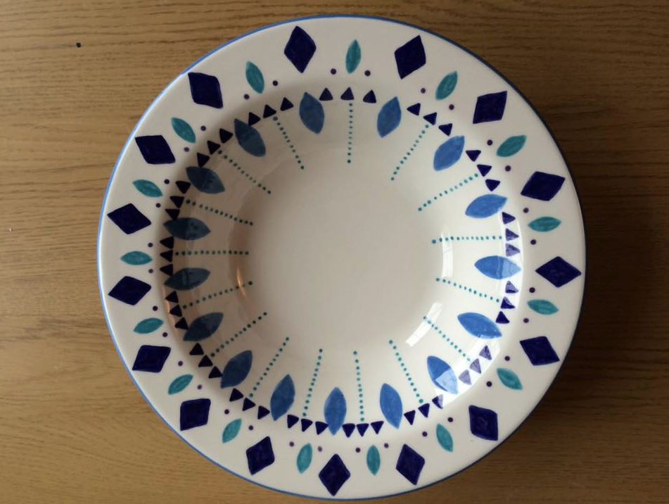 hand painted pasta bowl