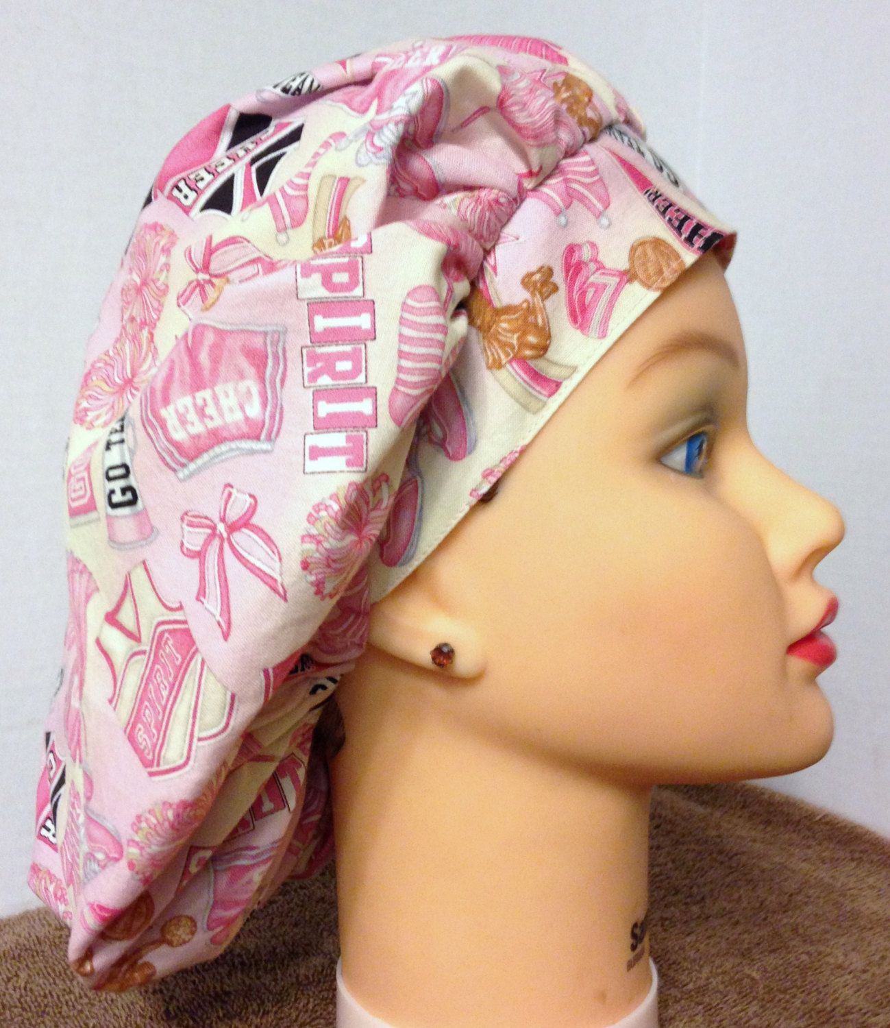 A personal favorite from my Etsy shop https://www.etsy.com/listing/157722475/womens-bouffant-surgical-scrub-hat-give