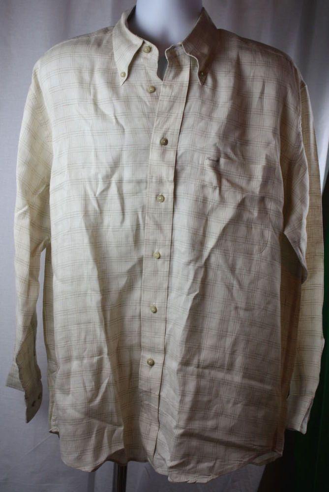 f2b98b85 Faconnable Men's Long Sleeve Button Front Tan Plaid Linen Shirt Size Large  NWOT #Faconnable
