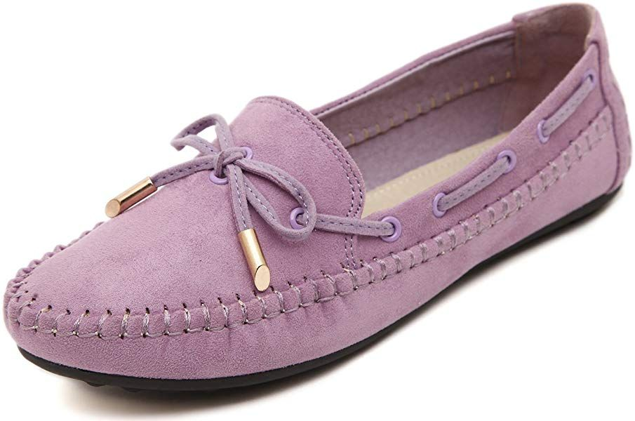 big sale new photos new release Amazon.com | Women's Casual Velvet Flat Loafers, Lilac Purple ...