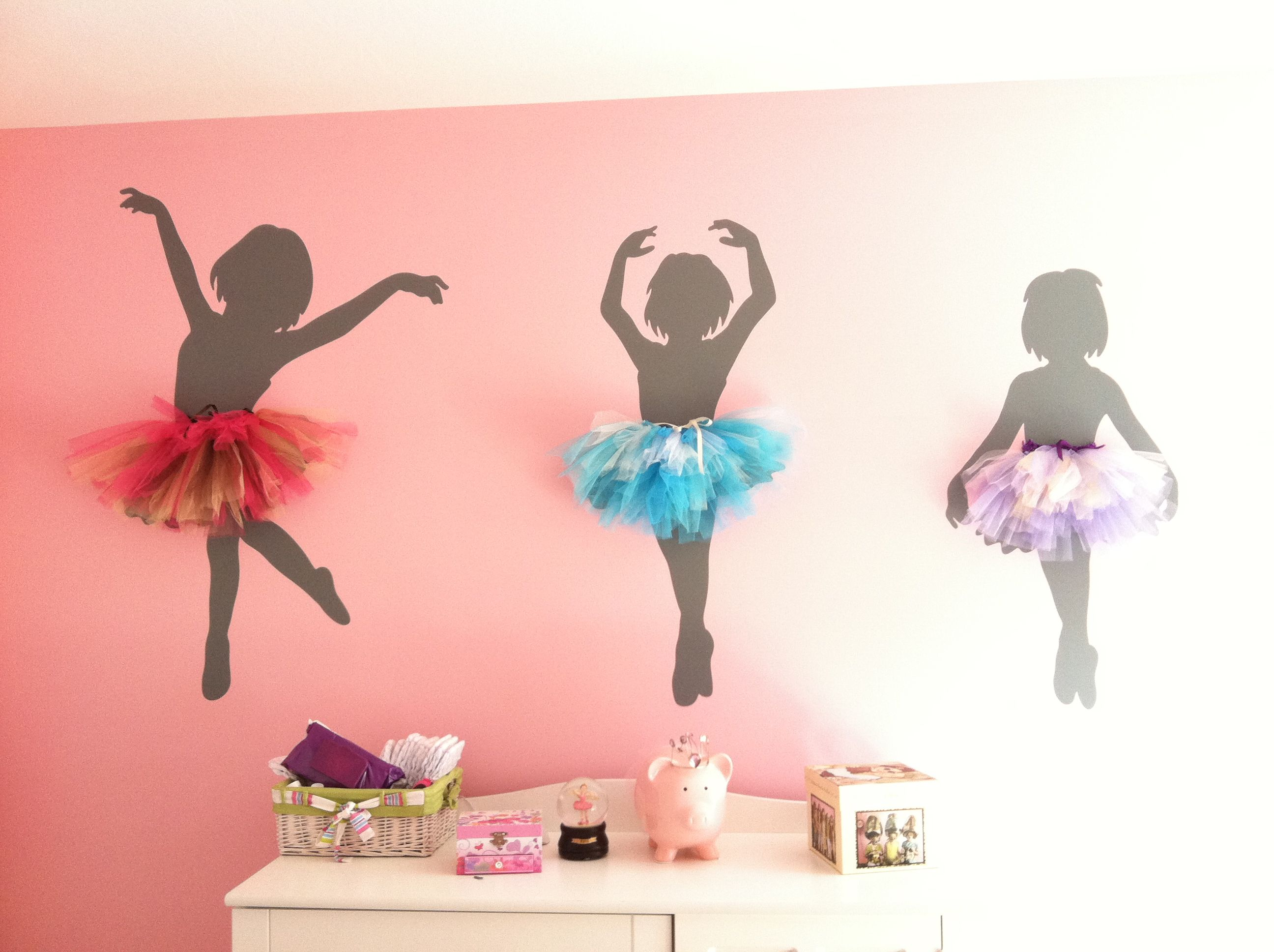 Ballerina Wall Decor Attached Tutus To Wall Decals With