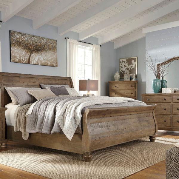 Trishley King Sleigh Bed Set Deco Chambre Meuble Salon Et