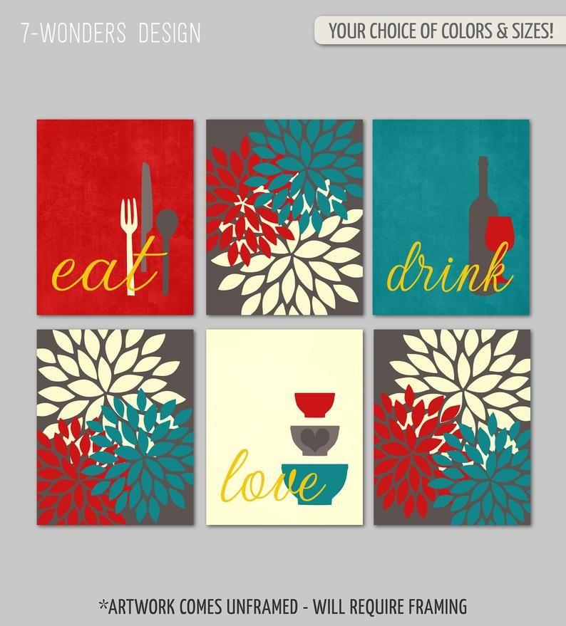 Kitchen Wall Art Print Set Eat Drink Love Flower Bursts Etsy Teal Kitchen Decor Kitchen Wall Art Red Home Decor