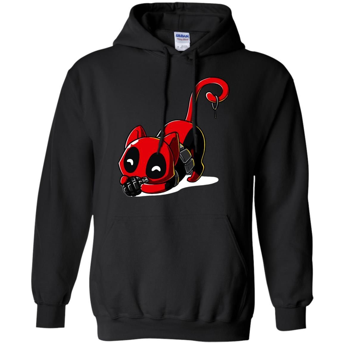 Deadpool Cat Hoodie Playing With Grenade Hoodies