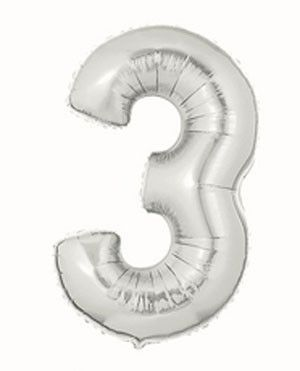 Metallic Silver Number 3 Balloon