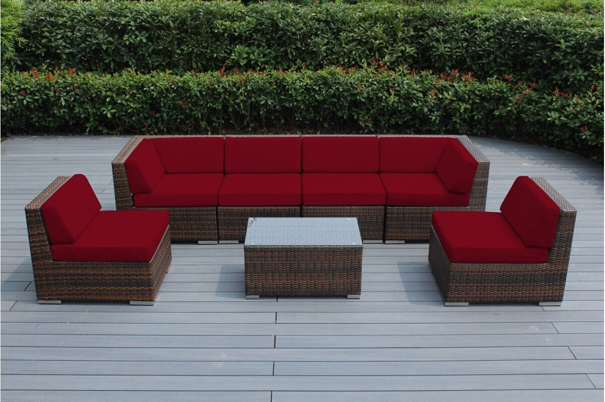 Amazon.com: Genuine Ohana Outdoor Patio Sofa Sectional Wicker Furniture  Mixed Brown 7pc Couch Set (Sunbrella Red): Garden & Outdoor