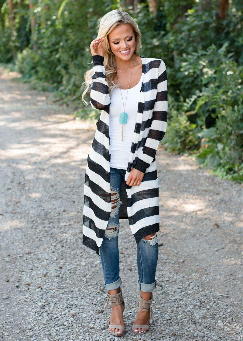 Extra Long Open Striped Cardigan Black/White, Modern Vintage ...