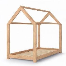 oskar kinderbett 90x200 cm kinderhaus massivholz bett kinder haus schlafen spielbett hausbett. Black Bedroom Furniture Sets. Home Design Ideas